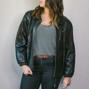 Vintage Chevron Leather Jacket